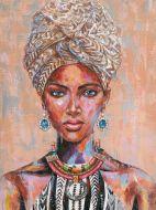 Olieverf schilderij Afrikaanse tulband Ter Halle